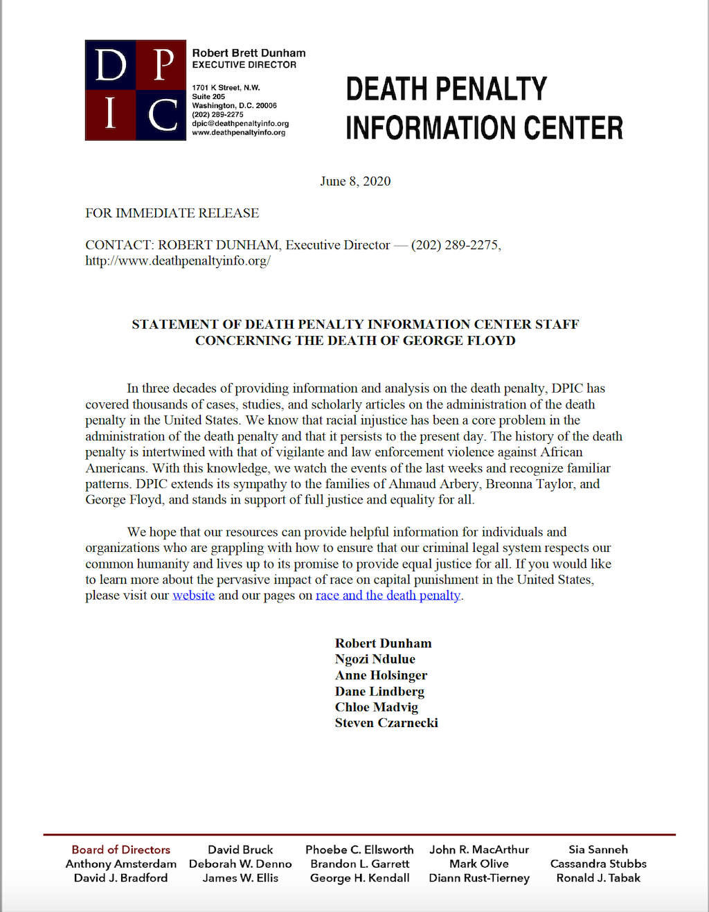 Death Penalty Information Center Statement Concerning the Death of George Floyd
