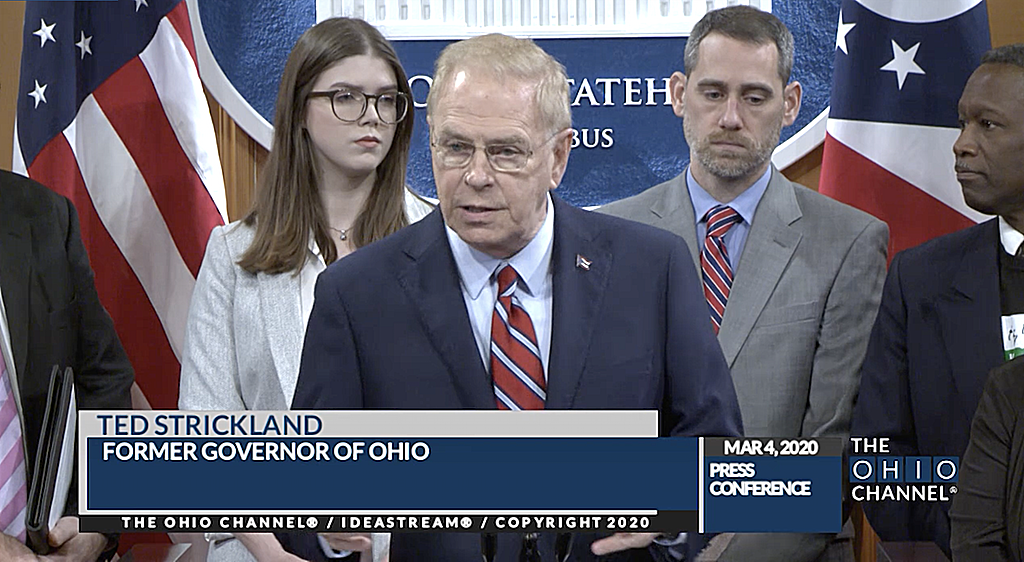 Former Ohio Governor Ted Strickland at the March 4, 2020 news conference announcing plans to introduce bipartisan legislation to end capital punishment in Ohio. (Photo courtesy of the Ohio Channel.)