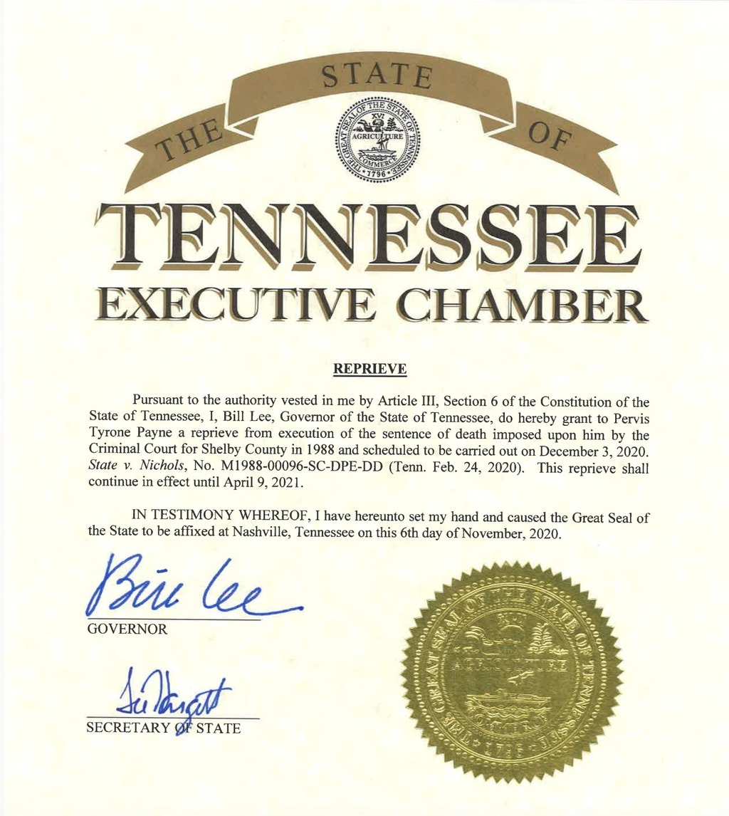 Citing COVID-19, Governor Grants Reprieve to Tennessee Death-Row Prisoner Pervis Payne