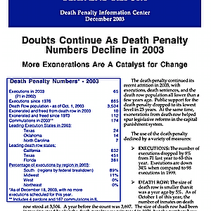 The Death Penalty in 2003: Year End Report