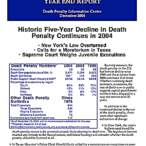 The Death Penalty in 2004: Year End Report
