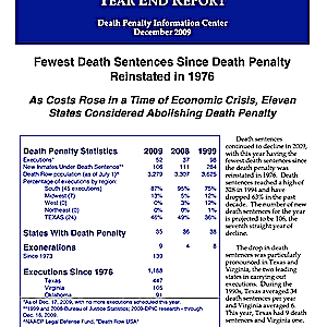The Death Penalty in 2009: Year End Report