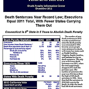 The Death Penalty in 2012: Year End Report