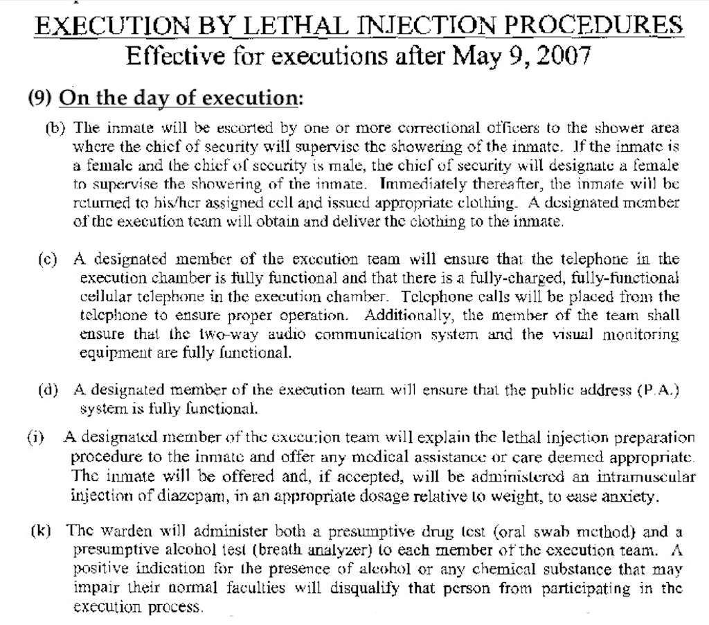 Excerpts from Florida's New Execution Protocols