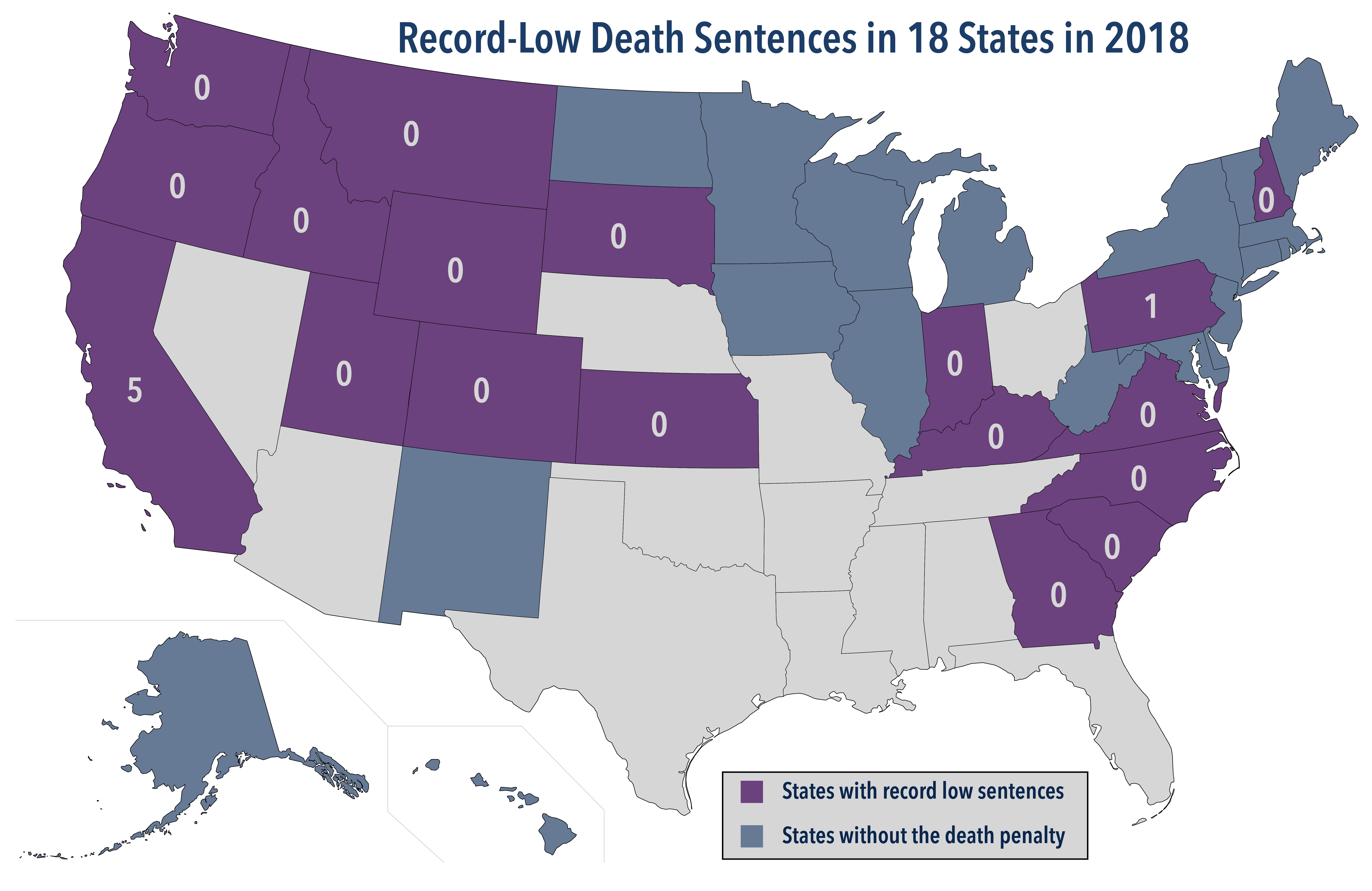 Record Lows Set Across the U.S. For Death Sentences Imposed in 2018