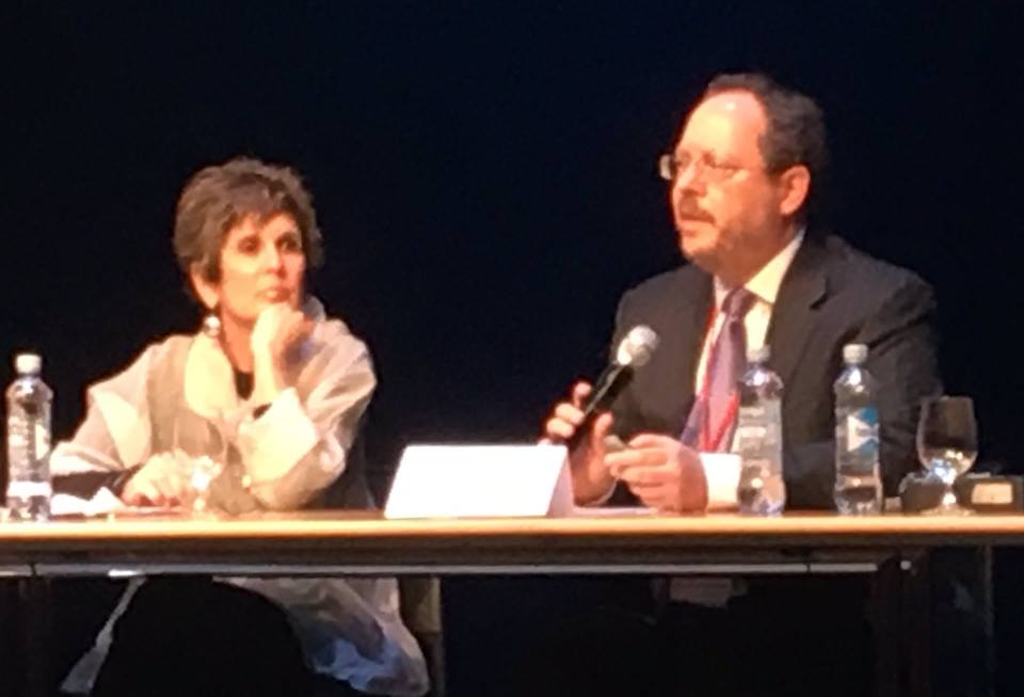 Virginia Sloan (Constitution Project) and Robert Dunham (DPIC) during their panel presentation at the Sixth World Congress in Oslo (2016).