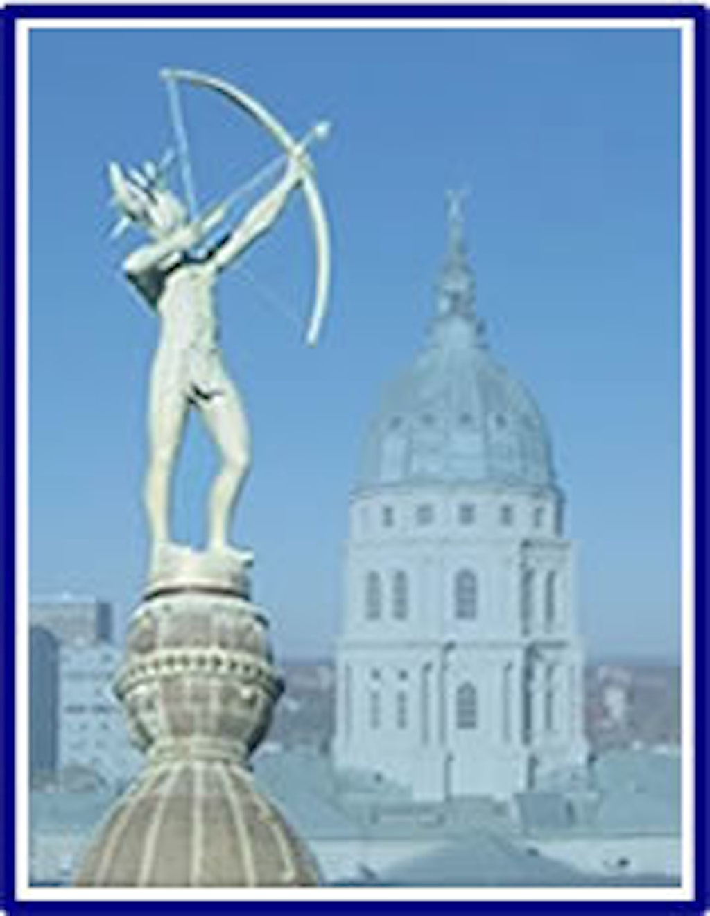 "Ad Astra per Aspera Statue on the Capitol Dome. Ad Astra per Aspera, meaning ""To the Stars through Difficulty"" is the Kansas State Motto. Photo by David Cook."