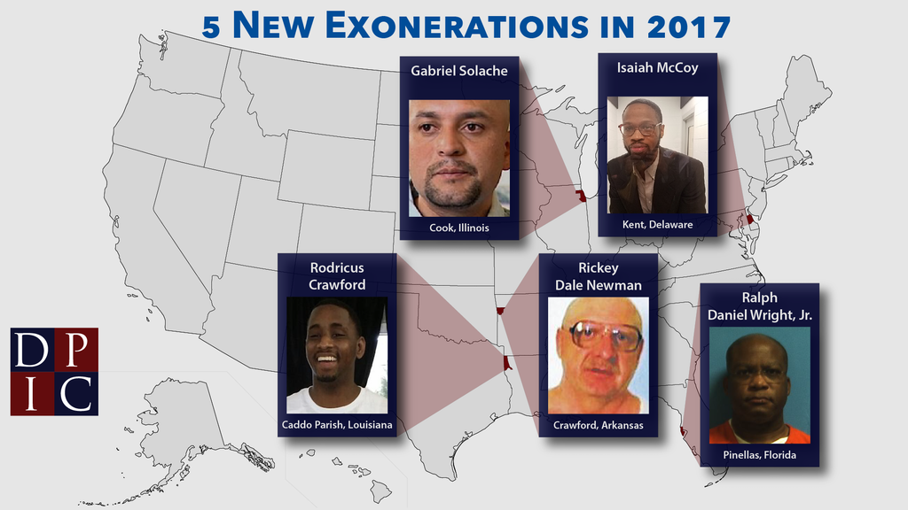 Graphic showing images of the five people exonerated from death row in 2017 and the counties where they were convicted.
