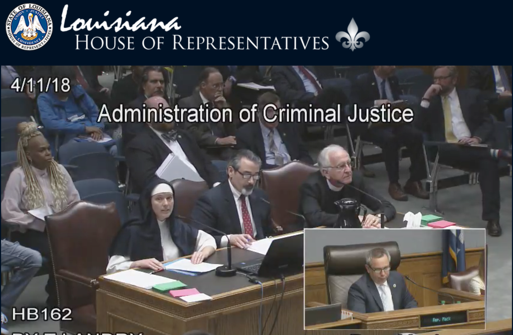 The Louisiana House of Representatives Committee on the Administration of Justice hears testimony on HB 162 on April 11, 2018. The bill, which would have abolished the state's death penalty, failed by one vote in the committee.