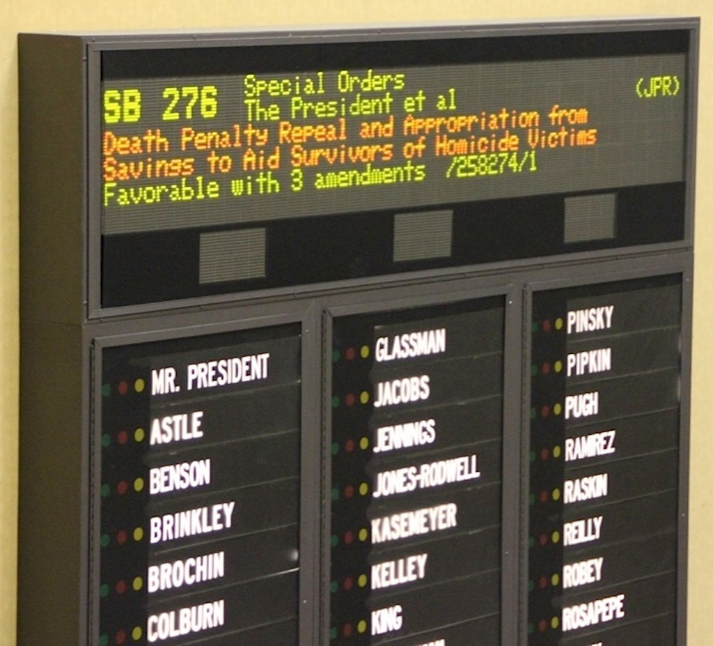 On March 6, 2013, Maryland's Senate voted 27-20 to repeal the death penalty. Photo by Richard Dieter.