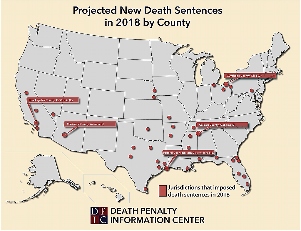 Map of counties that imposed death sentences in 2018, highlighting the counties that produced two sentences.