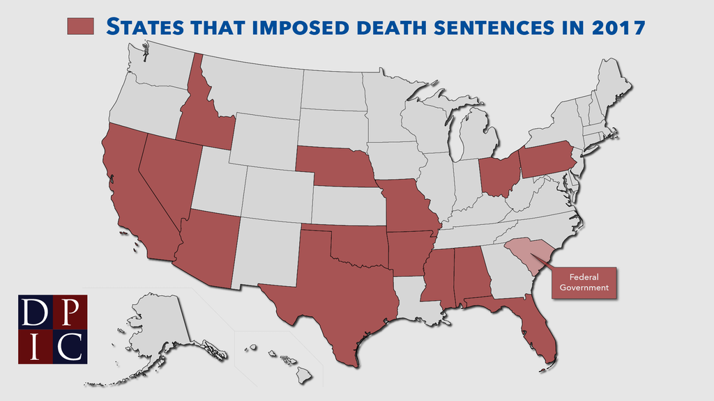 Map of states that imposed death sentences in 2017.