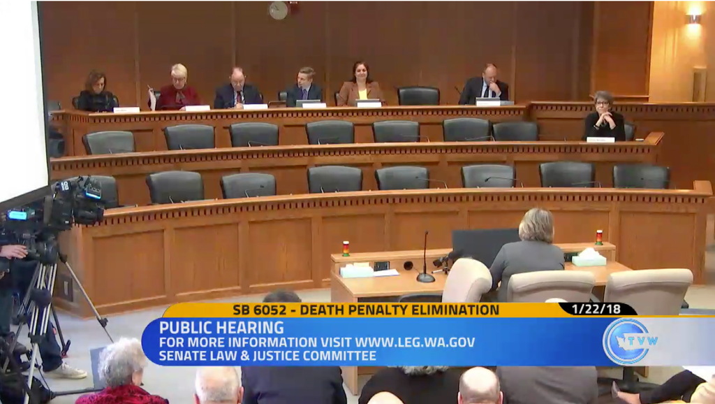 The Washington Senate Law and Justice Committee hears testimony on SB 6052, to abolish the state's death penalty, on January 22, 2018. The bill passed in the Senate and a House Committee, but was not voted on by the full House prior to adjournment of the legislative session.
