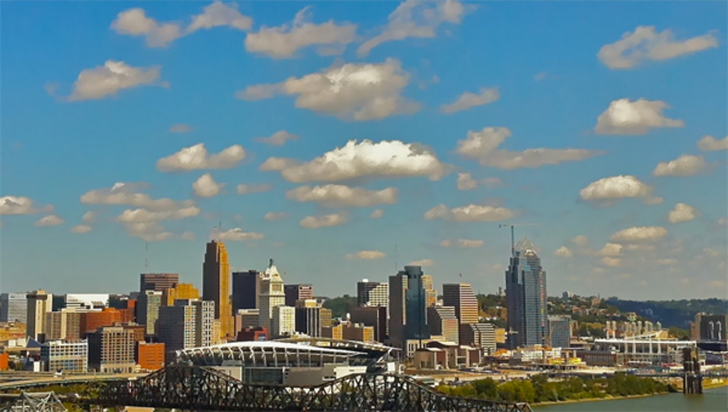 Cincinnati skyline.  Photo by Kenneth England.