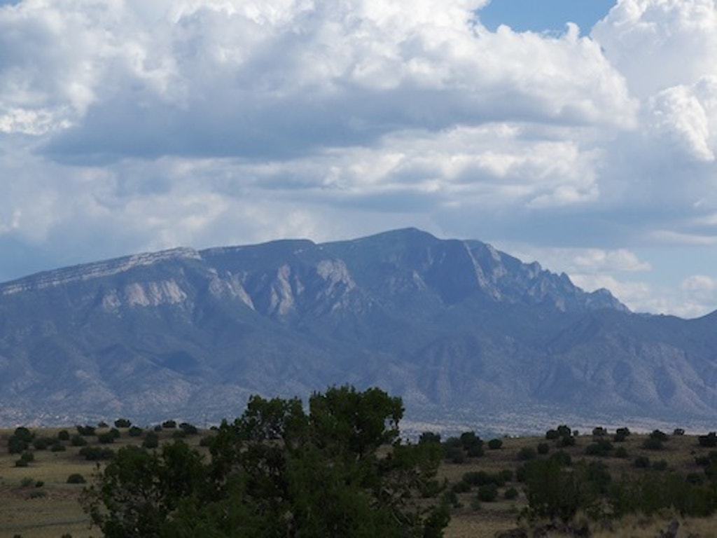 View of the Sandia Mountains from Bernalillo.  Photo by Viki Elkey.